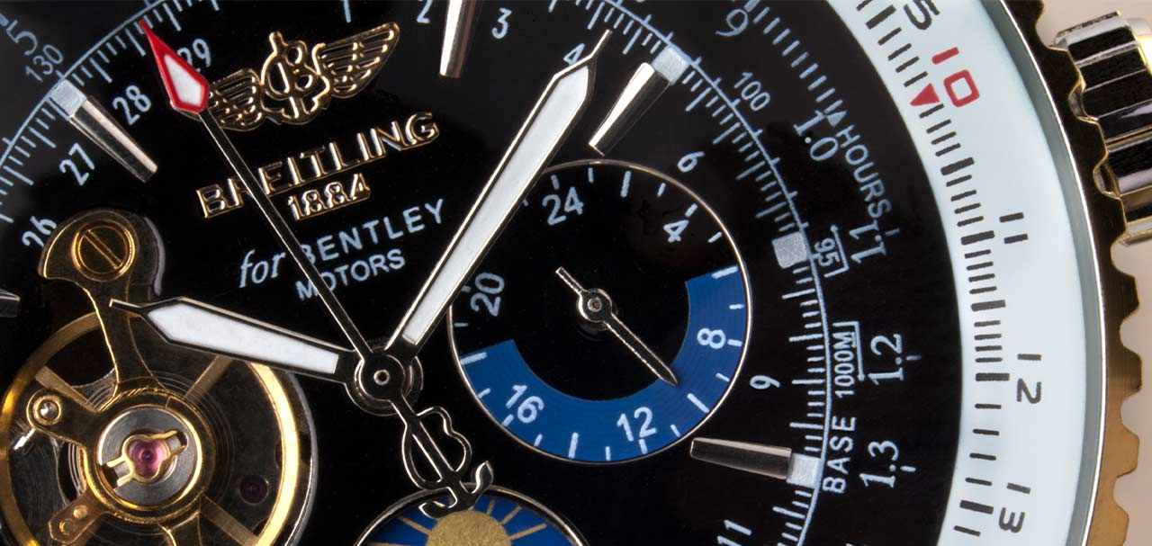 Close-up of a Breitling watch face