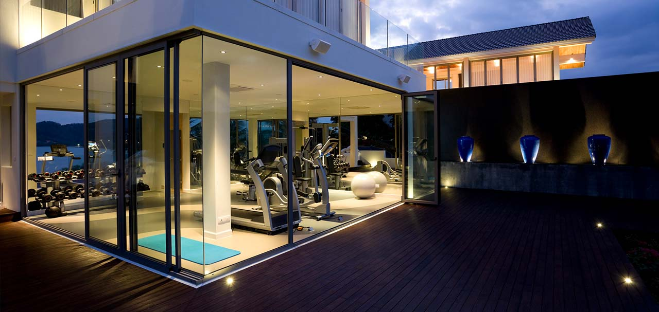At-home gym with a view and fitness equipment
