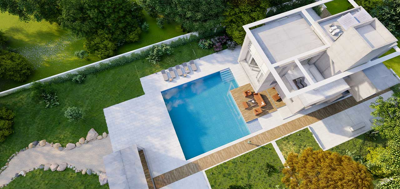 Aerial view of a modern luxurious house with a lounge area by the pool to sell